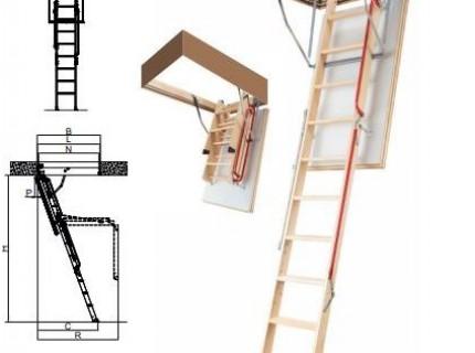 """Деревянная чердачная лестница Fakro LWL Extra """"Новинка"""" высота установки от 280 до 305см"""